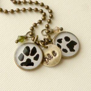 Custom Paw or Handprint Necklace with 2 Print Pendants, 2 Birthstones & a brass stamped disc