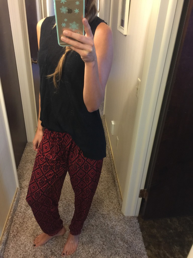 Cut pajama style harem printed pants from amazon