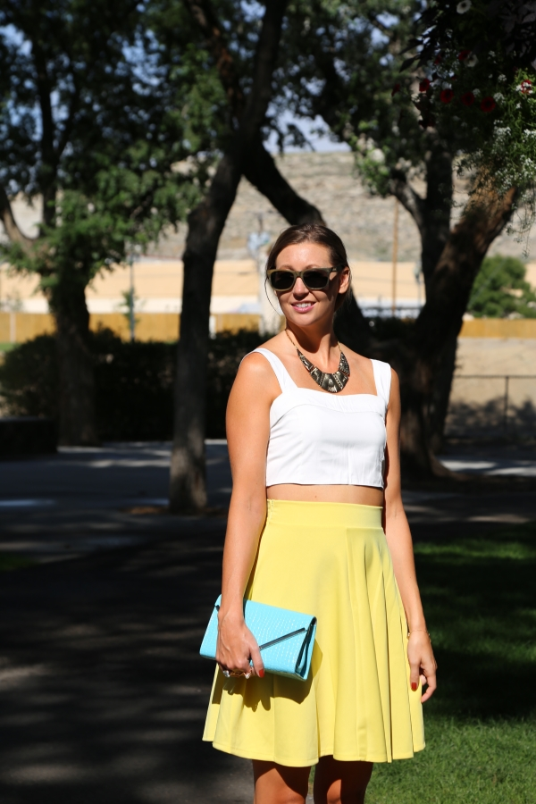 yellow skirt and white crop top- amazon fashion