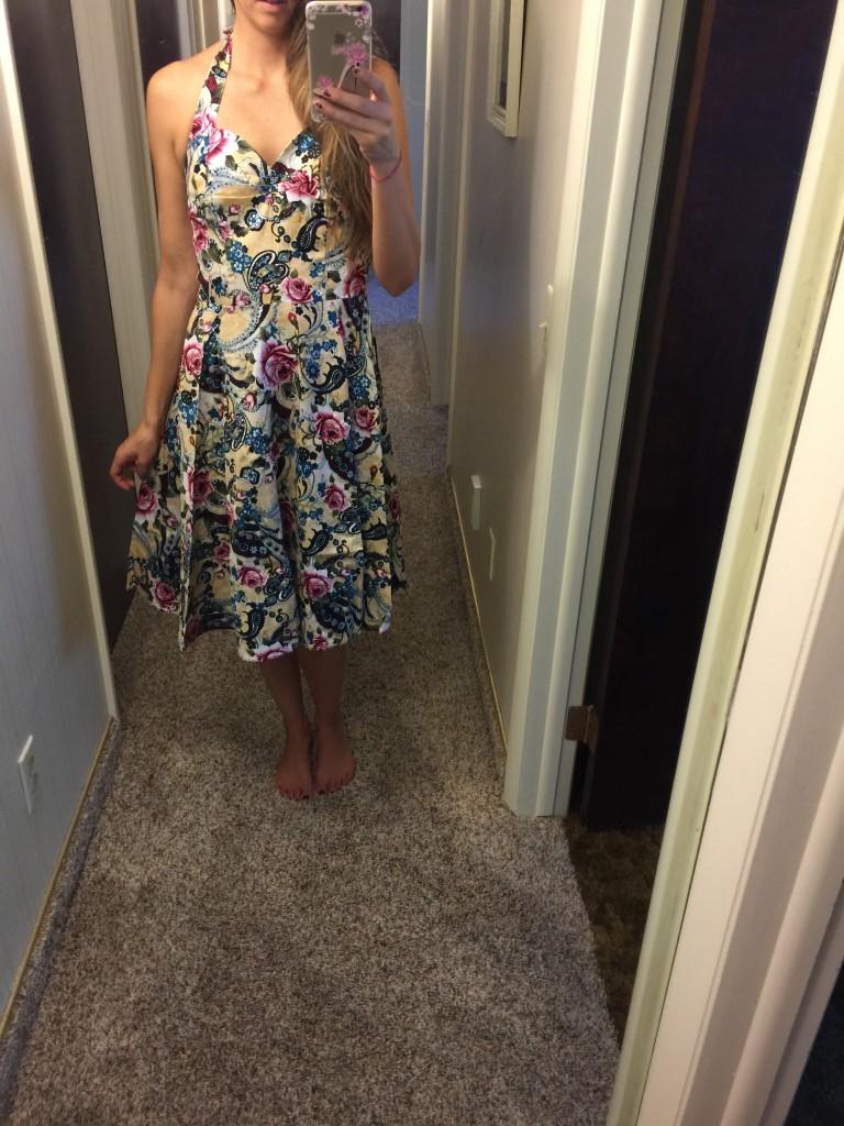 50s inspired floral halter dress