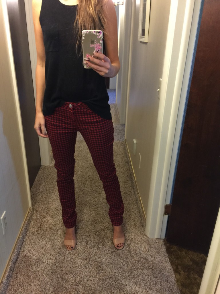 red and black check jeans
