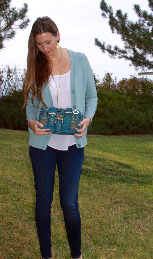 Nicole Lee Alice Belt Crossbody Buckle Handbag in Teal