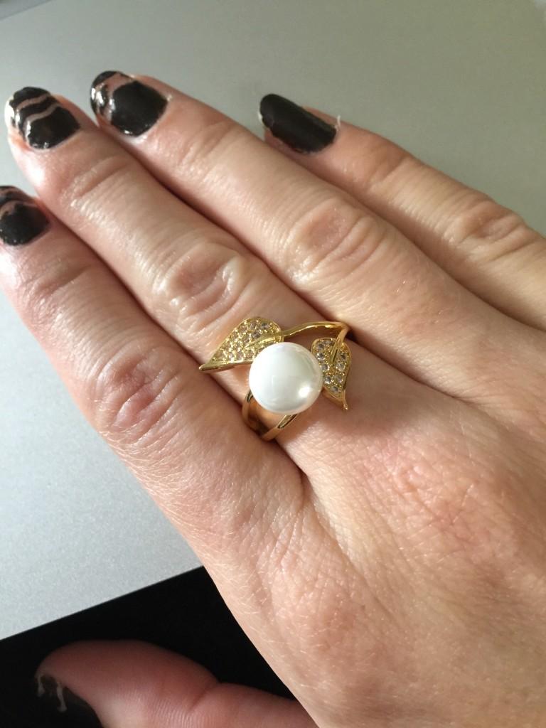 mazu Zircon gold pearl ring
