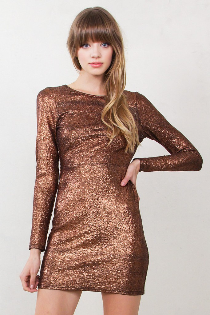 copper metallic party dress