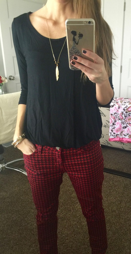 amie with houndstooth jeans