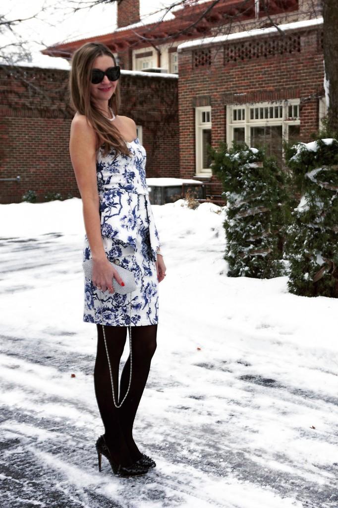 ACEVOG rockability bodycon blue and white floral dress