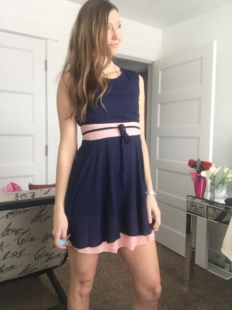 ultra feminine blue and pink ruffled day dress