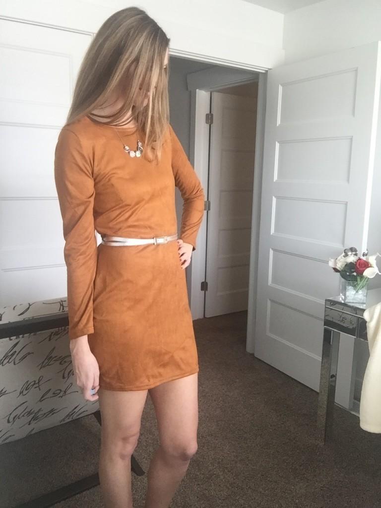 brown suede dress- zeagoo