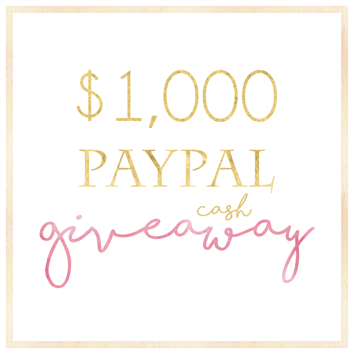 Win $1000 paypal cash giveaway!