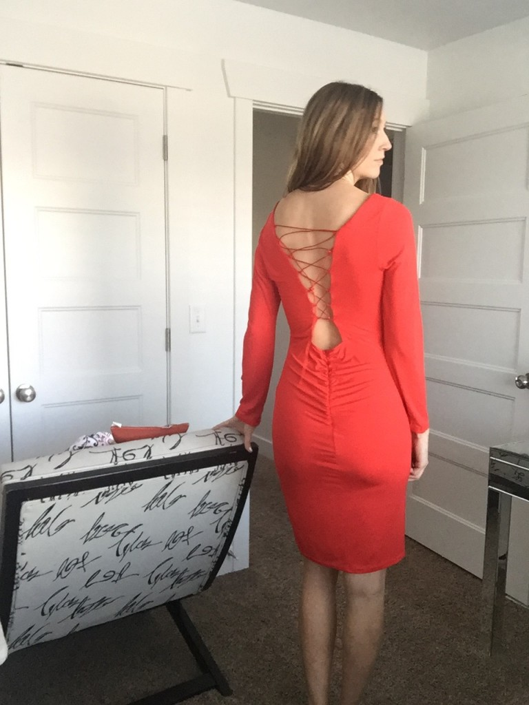 red dress with lace up back detail