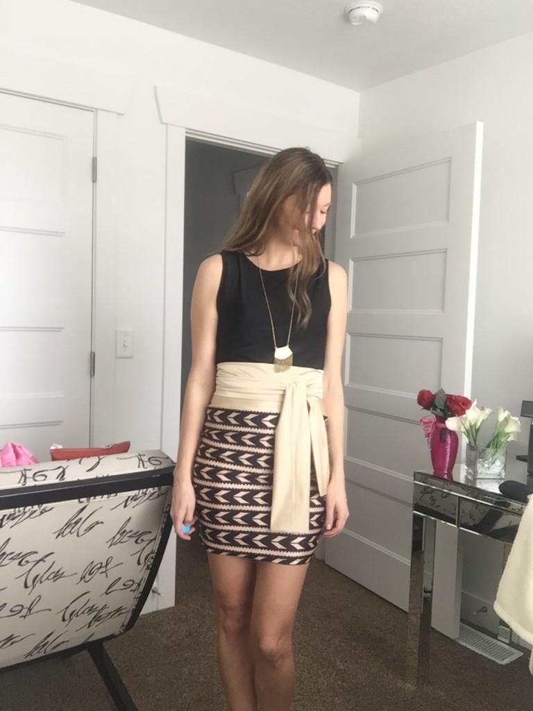 sleeveless tank top and pencil skirt