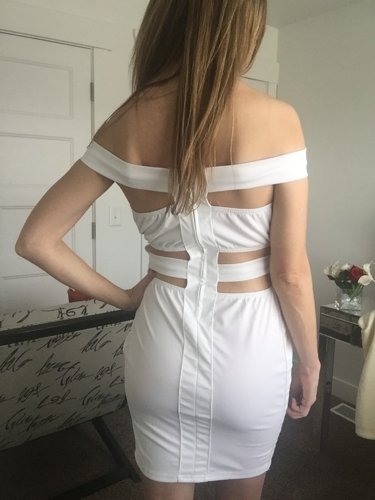 sexy white strappy bandage dress