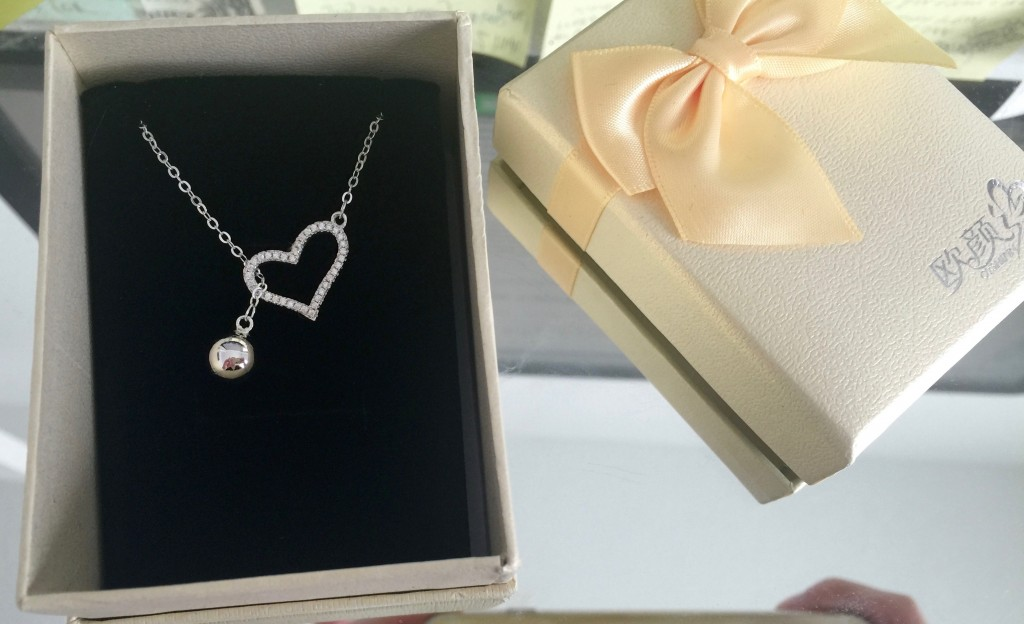 sterling silver cubic zirconia heart necklace
