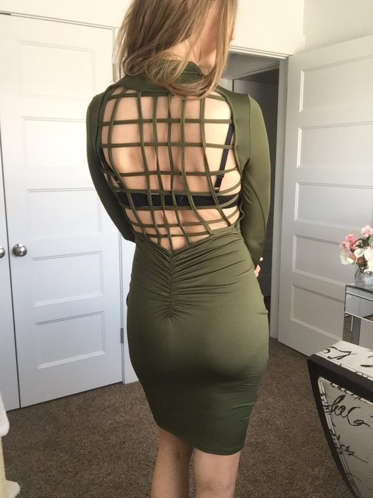 Sexy Mesh Back Army Green BodyCon Long Sleeved dress