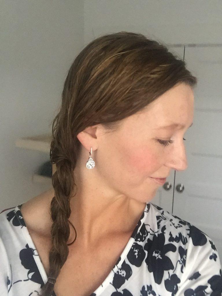 CZ square dangle earrings