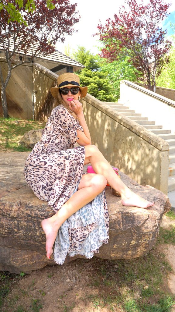 leopard print maxi dress and fedora hat