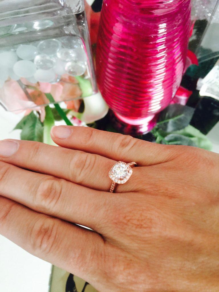 CZ rose gold ring