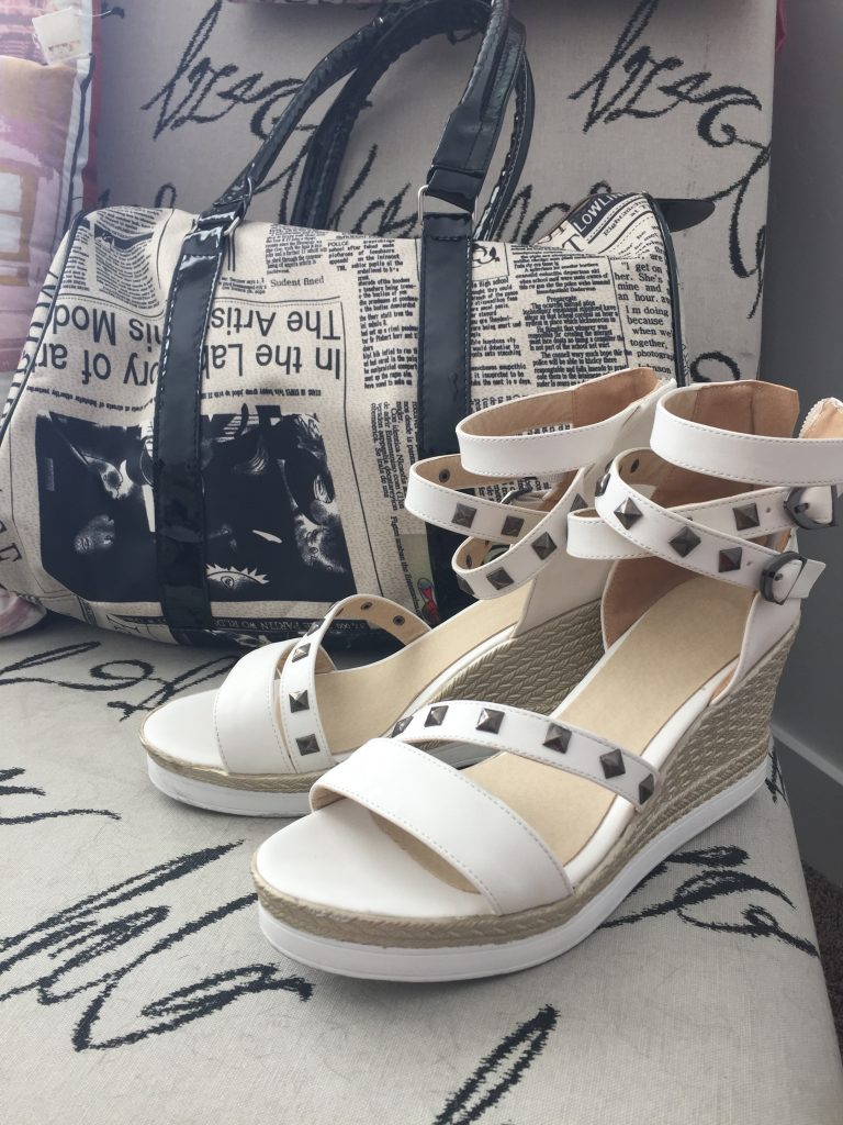 Sammy dress newspaper bag and stud sandals