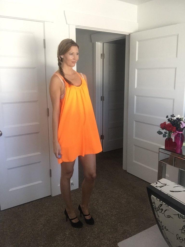 cute neon orange loose chiffon dress