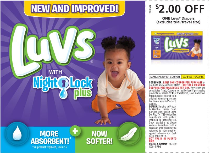 With Luvs coupons, not only is Luvs diapers kind on your baby, they're also kind on your wallet. Visit the Luvs site and get your Luvs coupon for $ off!