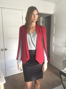 Red Cape Blazer, Gray Shirt, and Black Pencil Skirt
