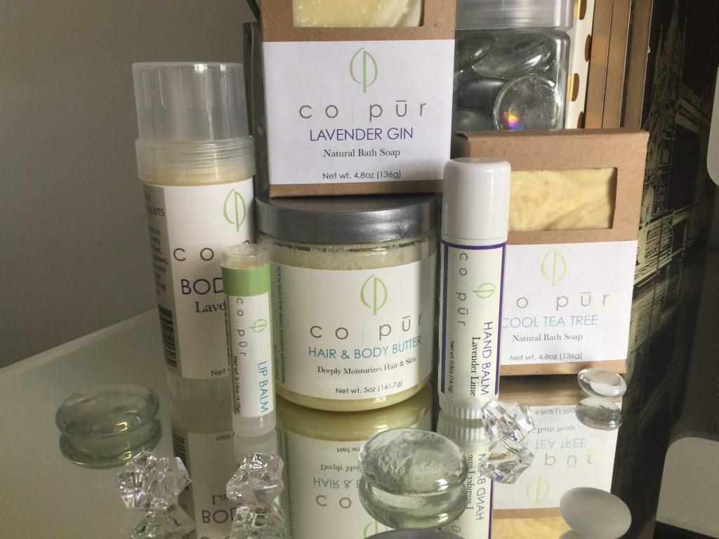Co-Pur Bath and Body Soap, balm, lips