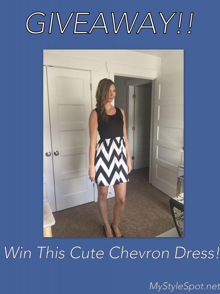 Win a chic ladies chevron print tank dress in black and white