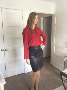 Black Faux Leather Pencil Skirt and Red Chiffon Blouse