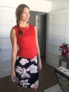 Red floral pencil skirt sleeveless dress