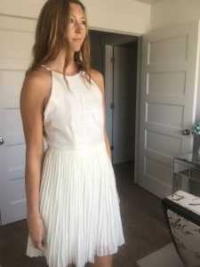 White party halter sequin dress with pleats