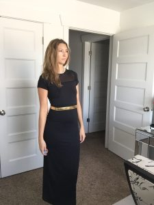 Black Sleeved Long Sheath Dress with Gold Belt