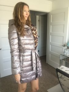 Cute Puffer coat with leopard print lining