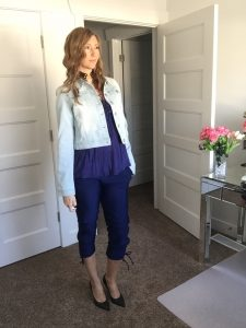 Denim Jacket and Navy Blue Jogger Pants