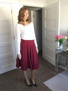 White Sweater and Burgundy Circle Skirt