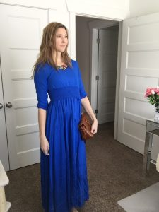 3/4 Sleeve Long Blue Maxi Dress