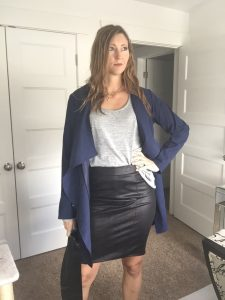 Blue Trench, Black Faux Leather pencil Skirt, and Gray T Shirt