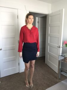 Red Blouse, Navy Skirt, Statement Necklace, and Nude Heels