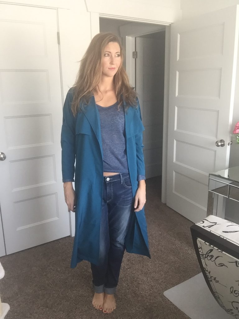 Blue Trench, Blue Sweater, and Jeans