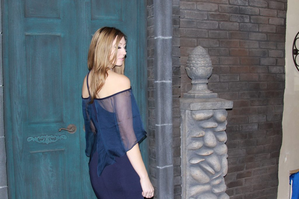 Navy off the shoulder gown