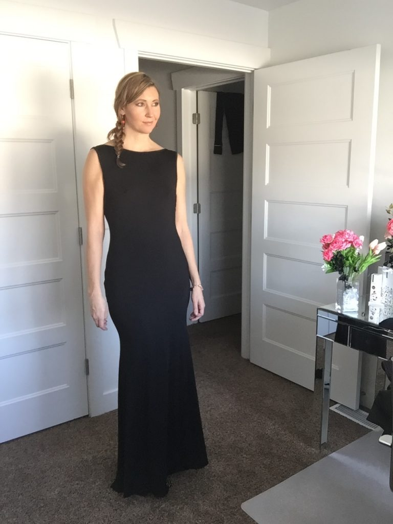 black sleeveless gown