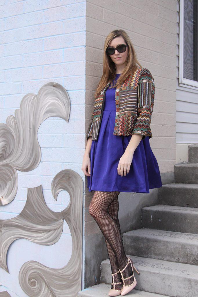amazon fashion - purple dress and tweed jacket