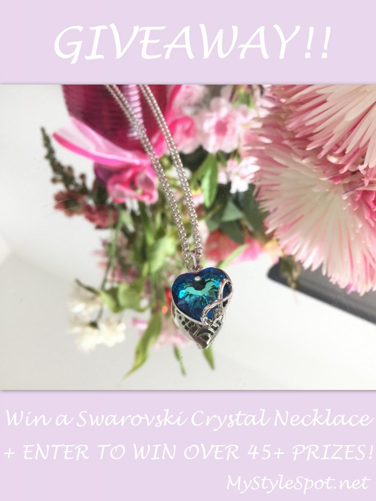 win a swarovski crystal blue heart infinity necklace