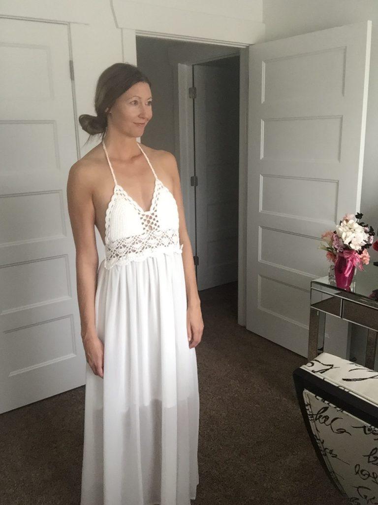 Crochet Halter Top White Maxi Dress