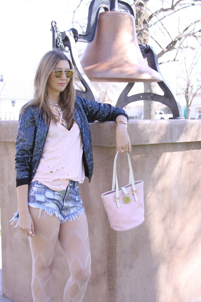 Style Post: Sequin Bomber Jacket, Ripped Tee, & High Thigh Denim Shorts