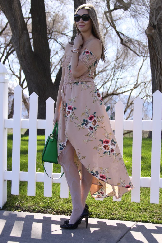 Style Post: Chic Off the Shoulder Floral Maxi Dress