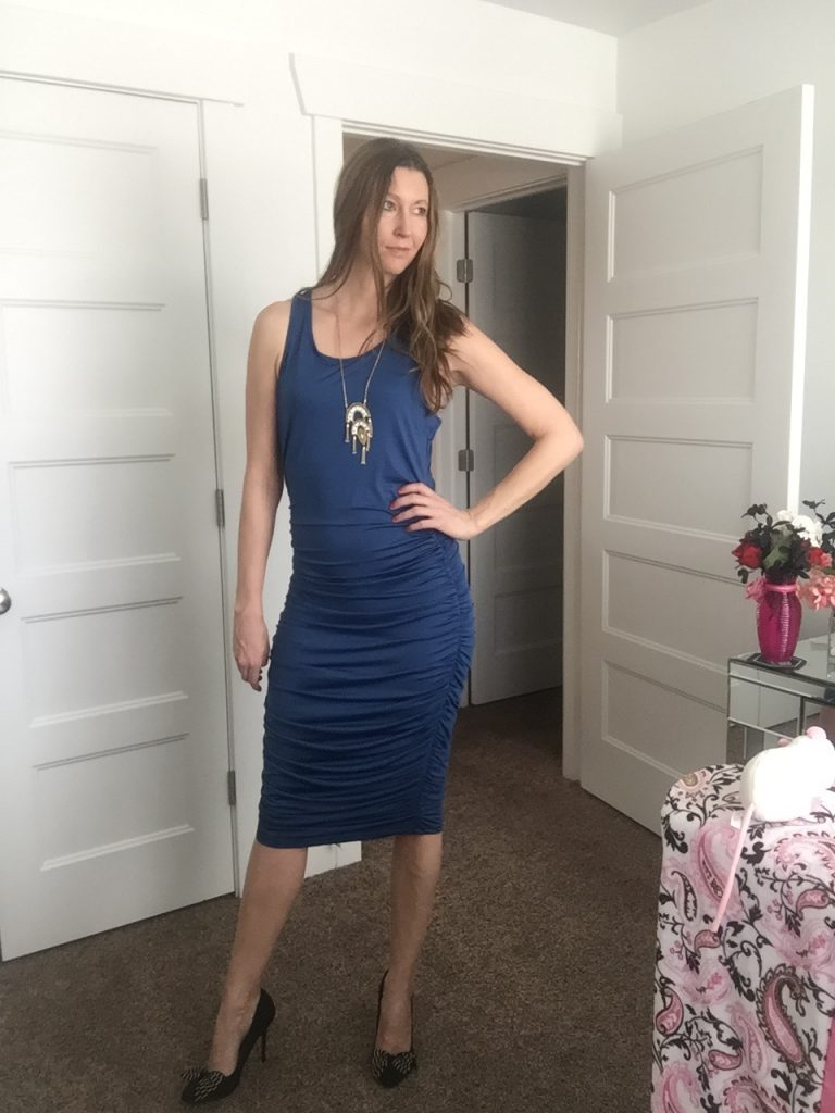Blue Ruched Tank Dress
