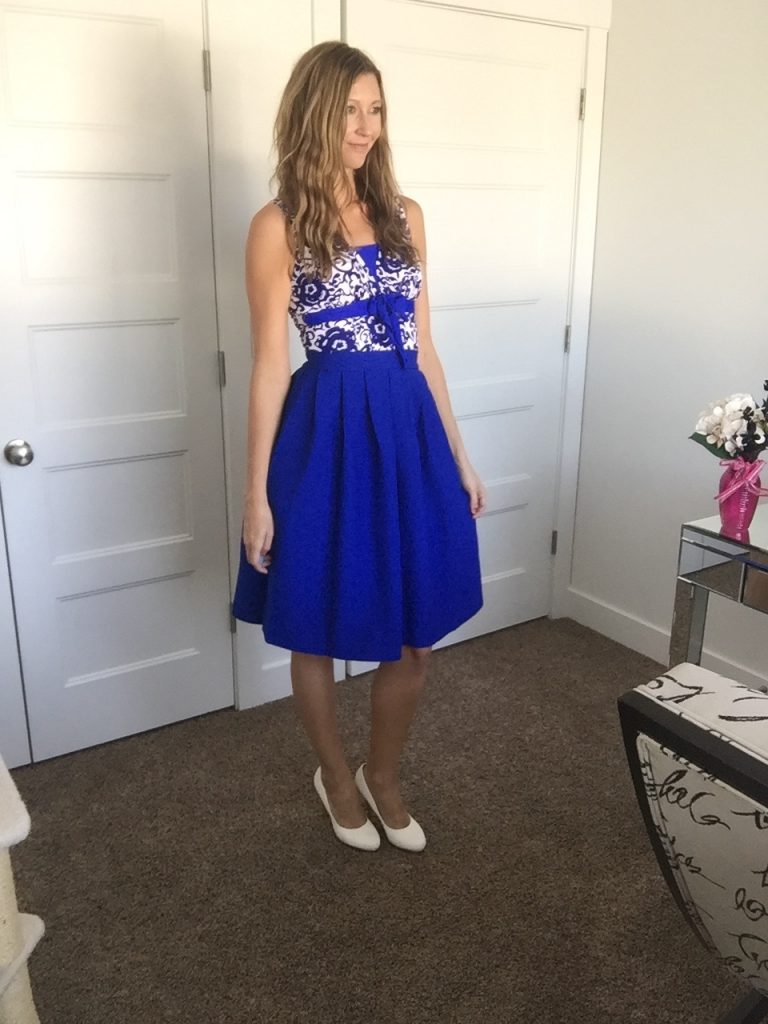 Blue Circle Skirt Worn with a One Piece Bathing Suit