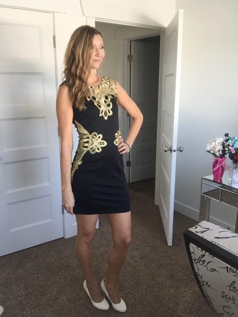 Gold Applique Little Black Dress