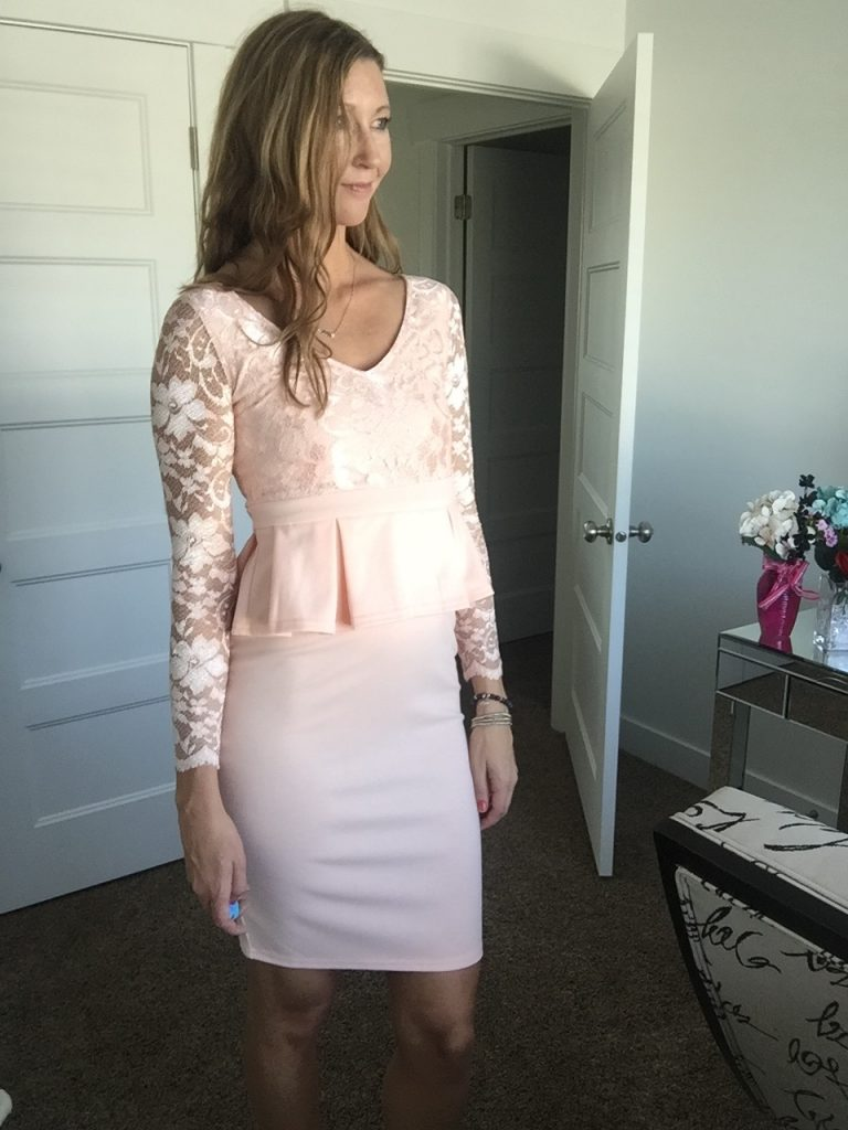 Pink Lace Sleeve Peplum Dress