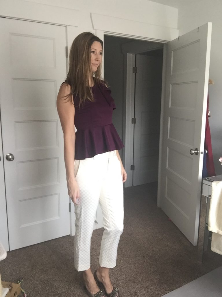 Plum Peplum Top and White Jacquard Crop Trousers